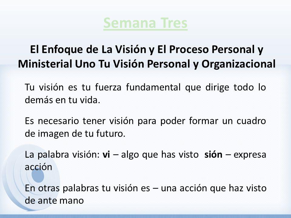 Semana Tres Tu visión es tu fuerza fundamental que dirige todo lo demás en tu vida. Es necesario tener visión para poder formar un cuadro de imagen de