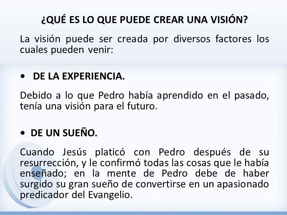 ¿QUÉ ES LO QUE PUEDE CREAR UNA VISIÓN? La visión puede ser creada por diversos factores los cuales pueden venir: DE LA EXPERIENCIA. Debido a lo que Pe