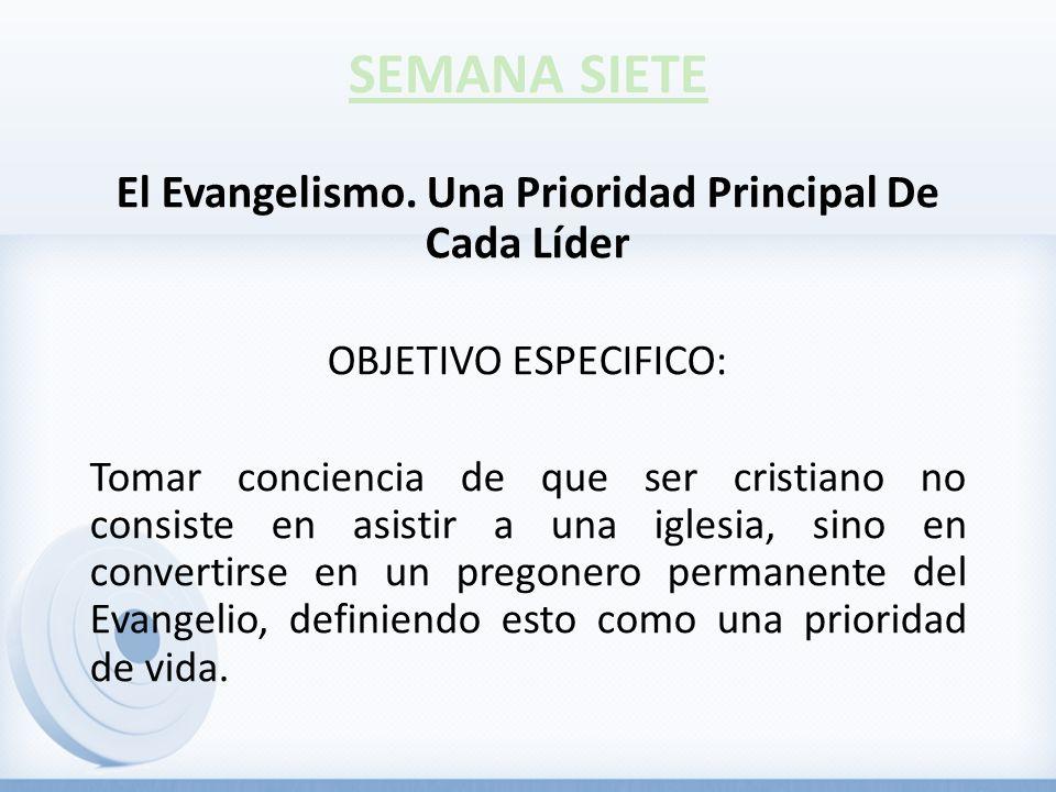 El Evangelismo. Una Prioridad Principal De Cada Líder OBJETIVO ESPECIFICO: Tomar conciencia de que ser cristiano no consiste en asistir a una iglesia,
