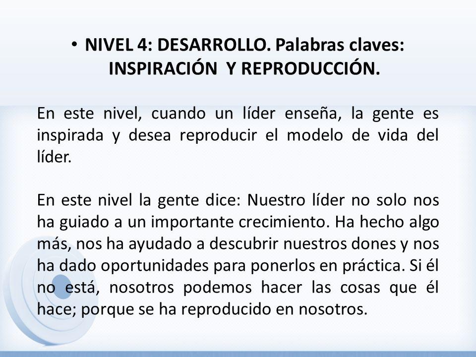 NIVEL 4: DESARROLLO.Palabras claves: INSPIRACIÓN Y REPRODUCCIÓN.