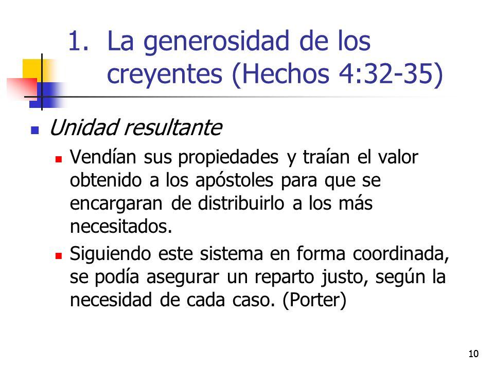 10 Unidad resultante Vendían sus propiedades y traían el valor obtenido a los apóstoles para que se encargaran de distribuirlo a los más necesitados.
