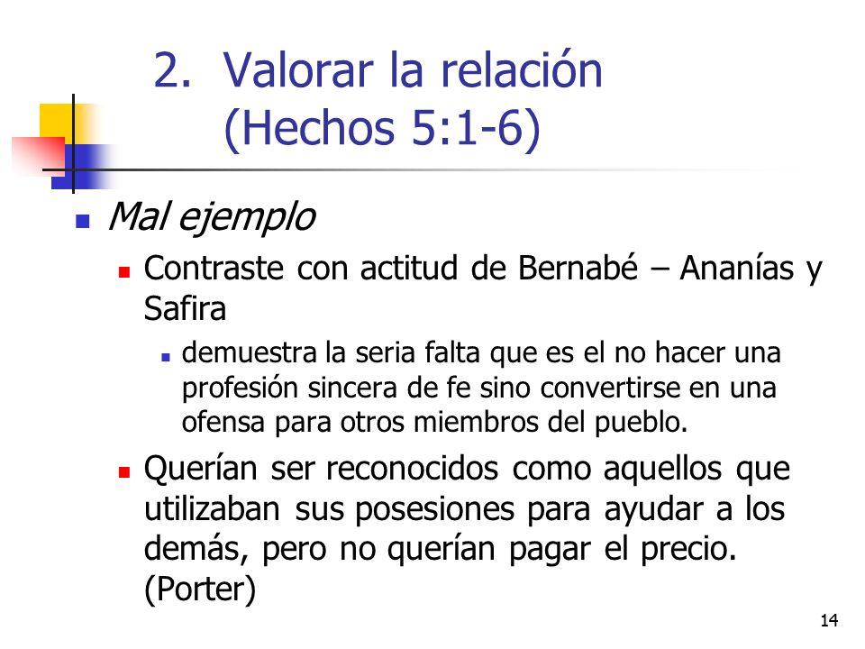 14 Mal ejemplo Contraste con actitud de Bernabé – Ananías y Safira demuestra la seria falta que es el no hacer una profesión sincera de fe sino conver