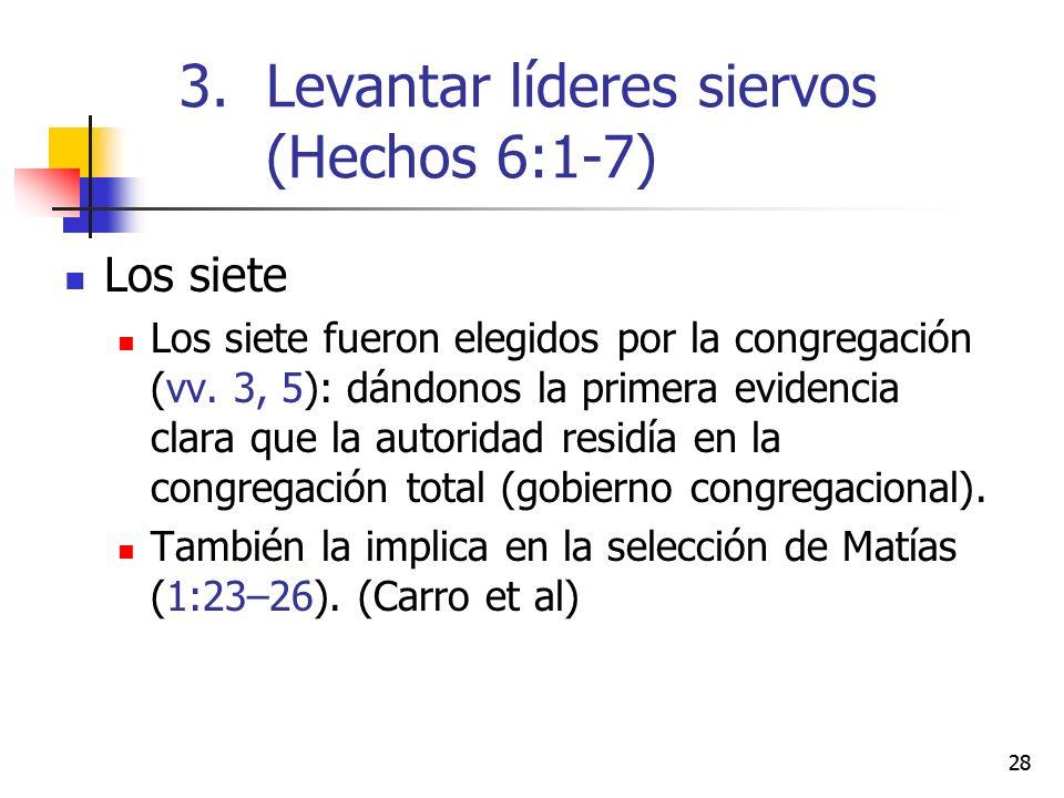 28 Los siete Los siete fueron elegidos por la congregación (vv. 3, 5): dándonos la primera evidencia clara que la autoridad residía en la congregación