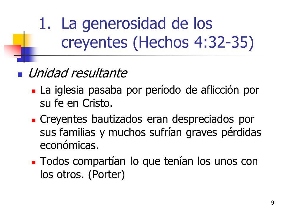 99 Unidad resultante La iglesia pasaba por período de aflicción por su fe en Cristo. Creyentes bautizados eran despreciados por sus familias y muchos