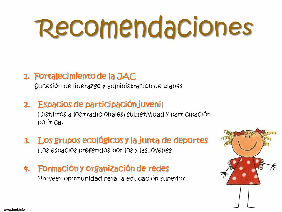 1.Fortalecimiento de la JAC Sucesión de liderazgo y administración de planes 2.Espacios de participación juvenil Distintos a los tradicionales; subjet