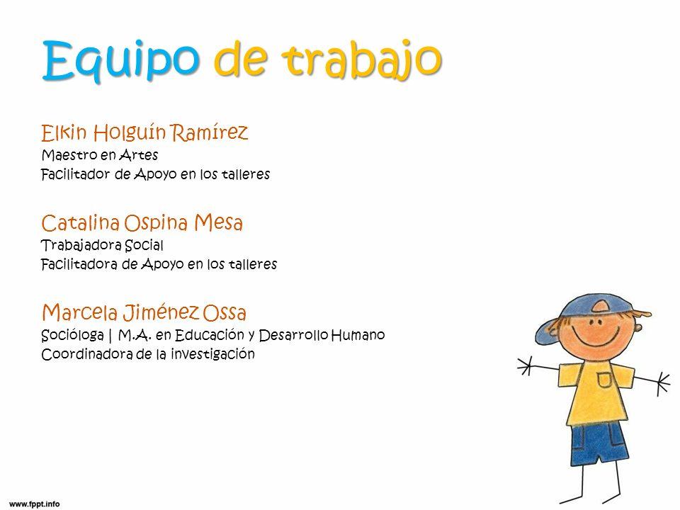 Equipo de trabajo Elkin Holguín Ramírez Maestro en Artes Facilitador de Apoyo en los talleres Catalina Ospina Mesa Trabajadora Social Facilitadora de