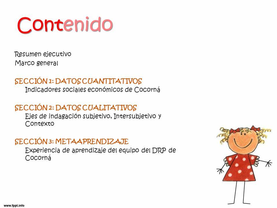 Contenido Resumen ejecutivo Marco general SECCIÓN 1: DATOS CUANTITATIVOS Indicadores sociales económicos de Cocorná SECCIÓN 2: DATOS CUALITATIVOS Ejes