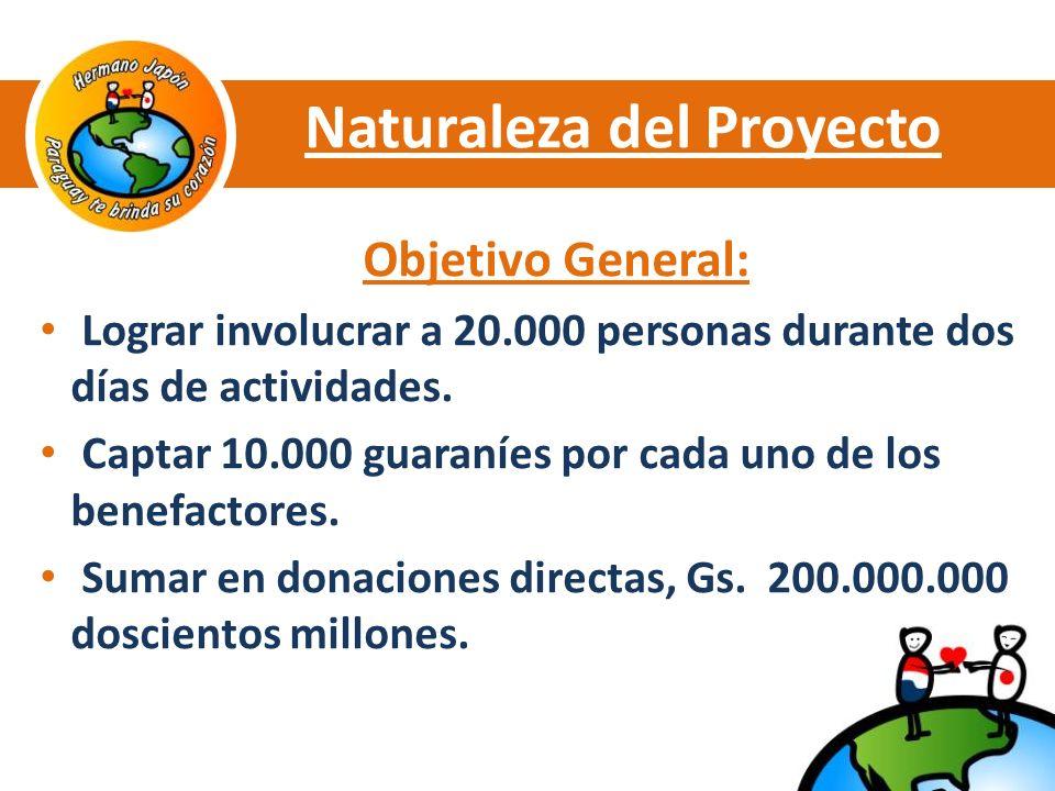 Naturaleza del Proyecto Objetivo General: Lograr involucrar a 20.000 personas durante dos días de actividades.