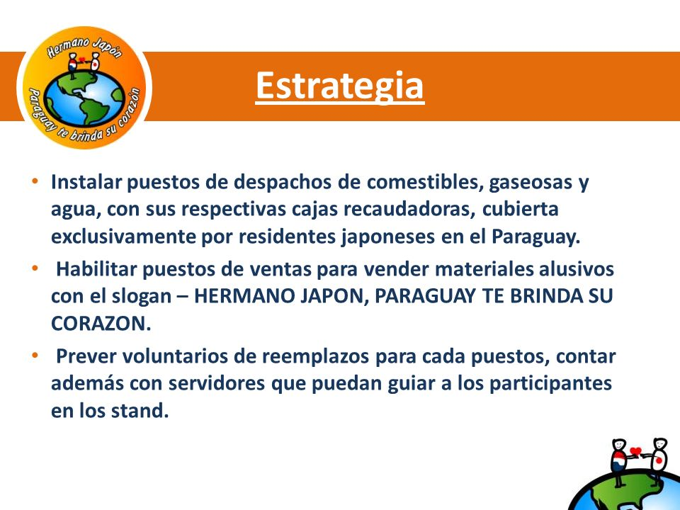 Estrategia Instalar puestos de despachos de comestibles, gaseosas y agua, con sus respectivas cajas recaudadoras, cubierta exclusivamente por residentes japoneses en el Paraguay.
