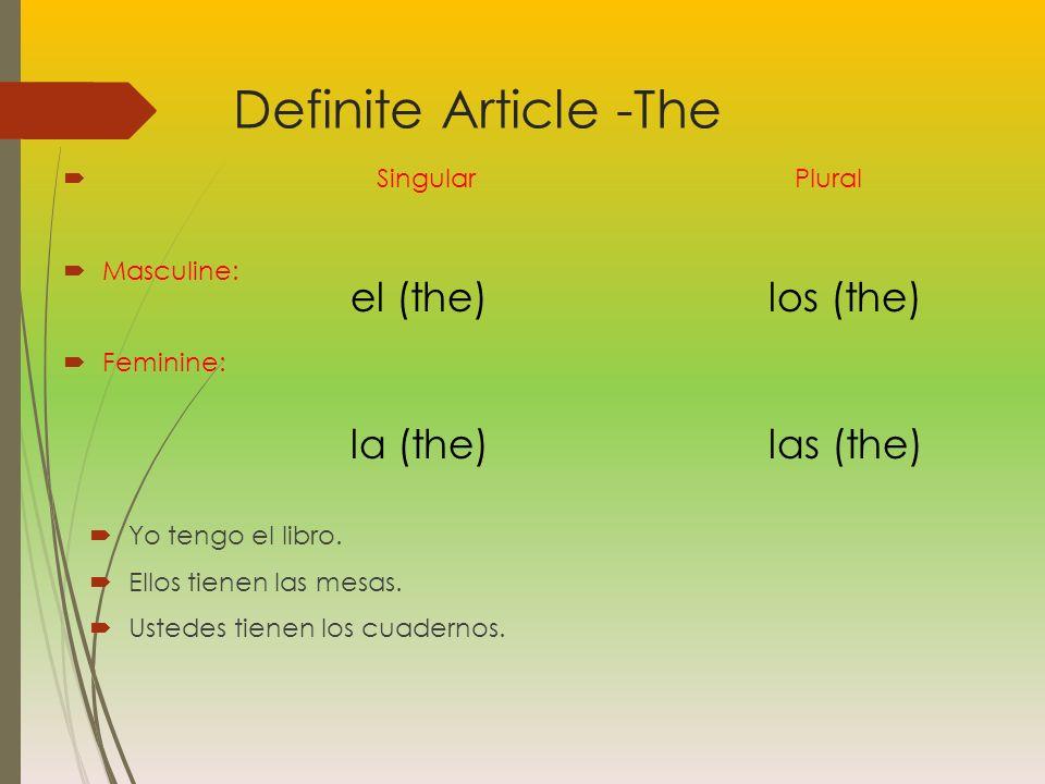 Definite Article -The Singular Plural Masculine: Feminine: Yo tengo el libro.