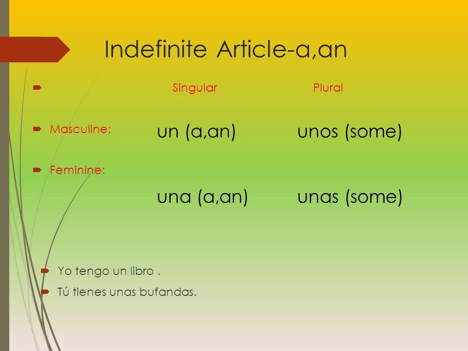 Indefinite Article-a,an Singular Plural Masculine: Feminine: Yo tengo un libro.