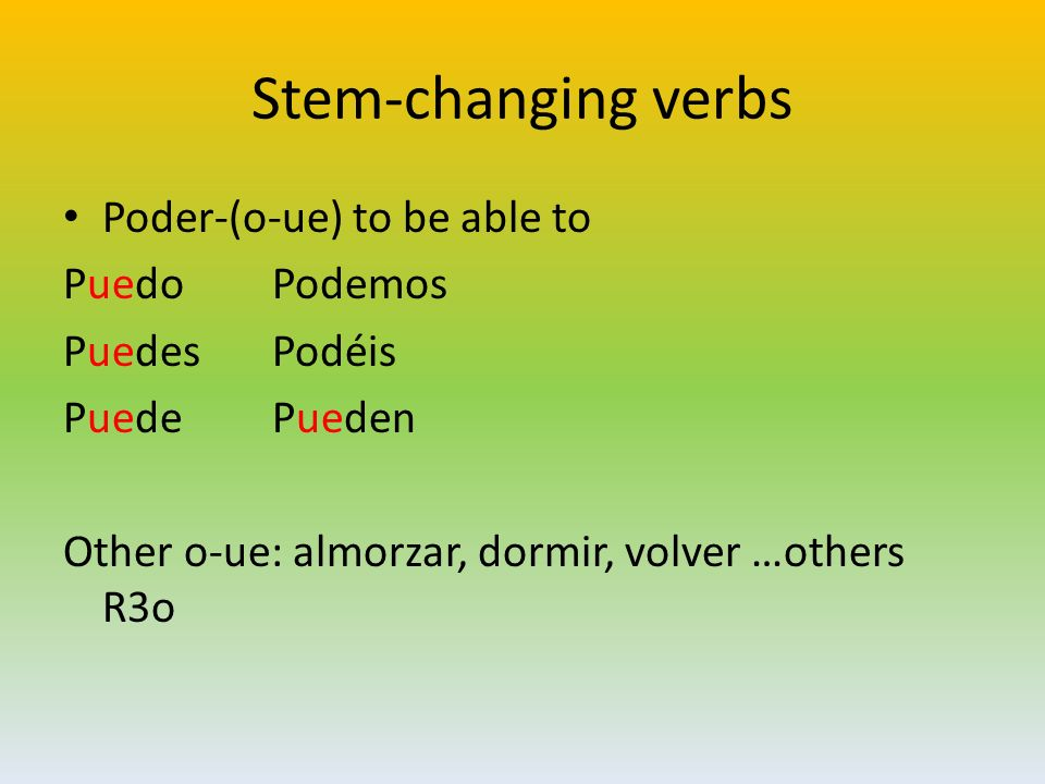 Stem-changing verbs Poder-(o-ue) to be able to PuedoPodemos PuedesPodéis PuedePueden Other o-ue: almorzar, dormir, volver …others R3o