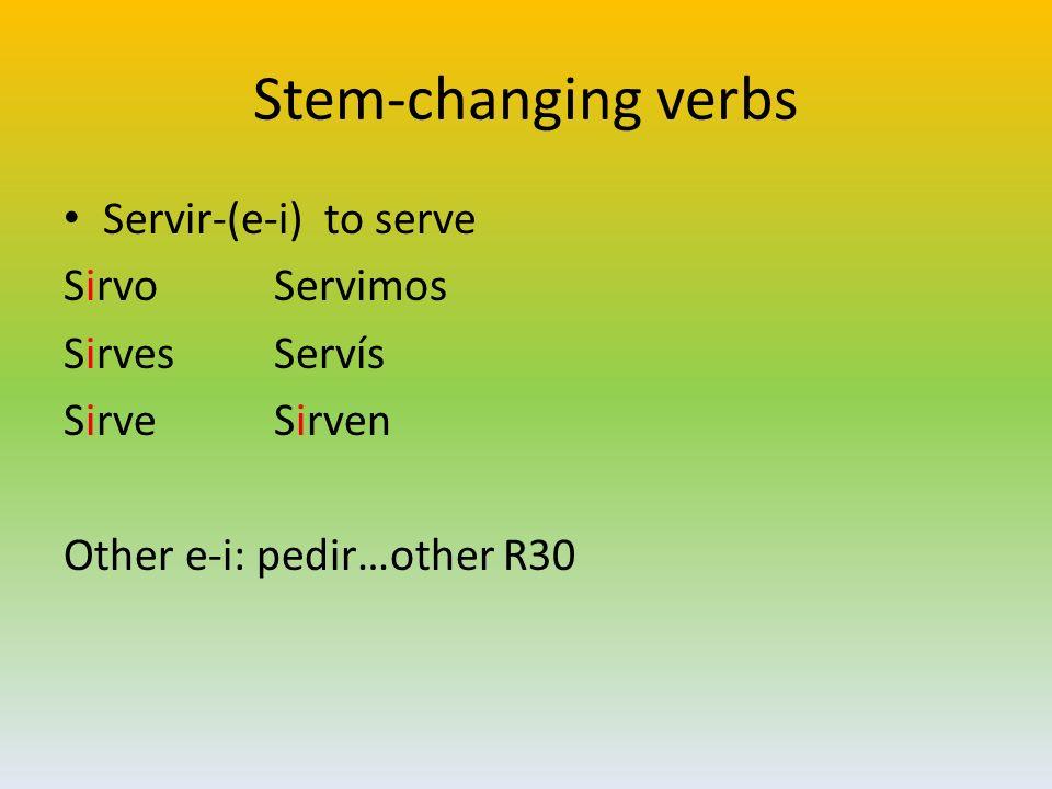 Stem-changing verbs Servir-(e-i) to serve SirvoServimos SirvesServís SirveSirven Other e-i: pedir…other R30