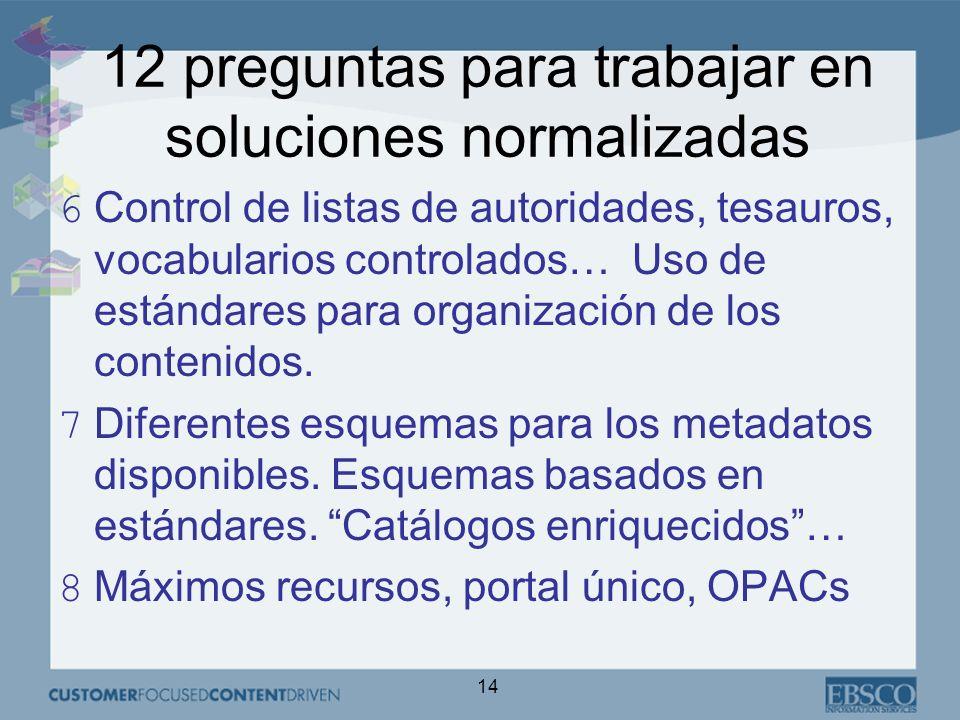 14 12 preguntas para trabajar en soluciones normalizadas 6Control de listas de autoridades, tesauros, vocabularios controlados… Uso de estándares para organización de los contenidos.