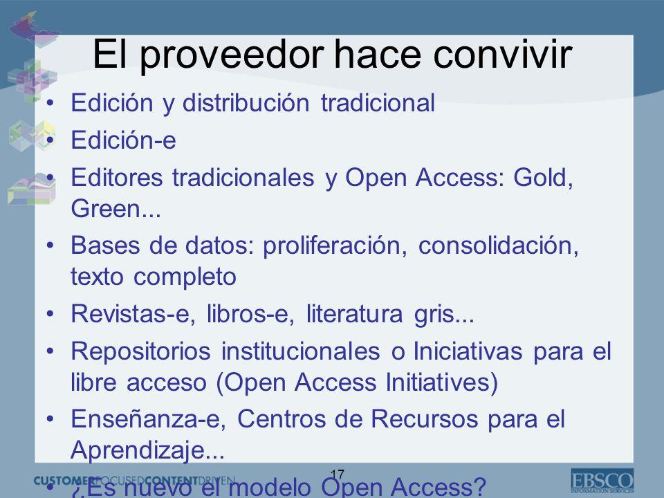17 El proveedor hace convivir Edición y distribución tradicional Edición-e Editores tradicionales y Open Access: Gold, Green...