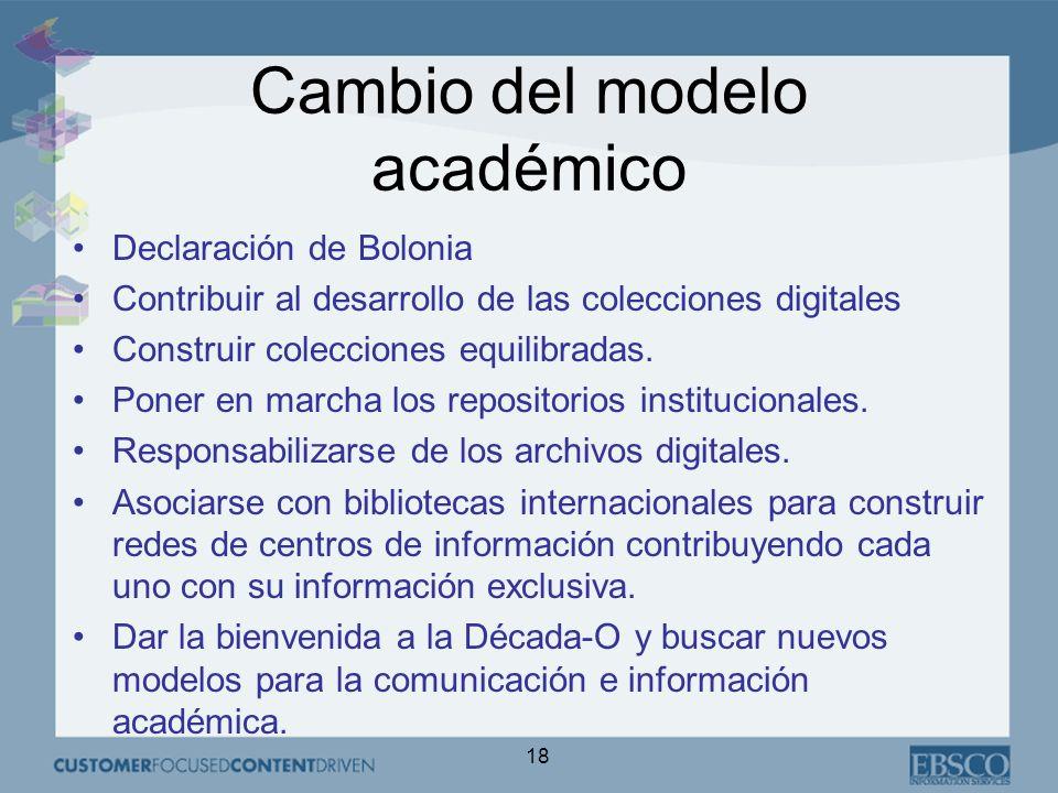 18 Cambio del modelo académico Declaración de Bolonia Contribuir al desarrollo de las colecciones digitales Construir colecciones equilibradas.