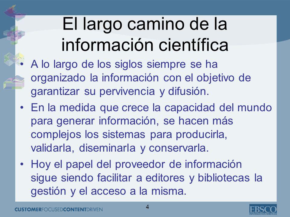 4 El largo camino de la información científica A lo largo de los siglos siempre se ha organizado la información con el objetivo de garantizar su pervivencia y difusión.