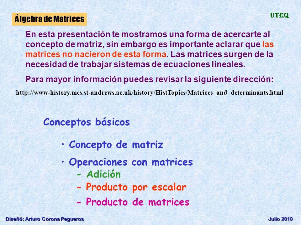 Diseñó: Arturo Corona PeguerosJulio 2010 Álgebra de Matrices UTEQ Conceptos básicos Concepto de matriz Operaciones con matrices - Adición - Producto p