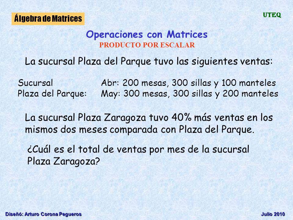 Diseñó: Arturo Corona PeguerosJulio 2010 Álgebra de Matrices UTEQ Operaciones con Matrices PRODUCTO POR ESCALAR La sucursal Plaza del Parque tuvo las