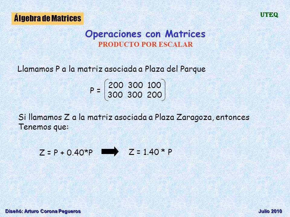 Diseñó: Arturo Corona PeguerosJulio 2010 Álgebra de Matrices UTEQ Llamamos P a la matriz asociada a Plaza del Parque P = 200 300 100 300 300 200 Si ll