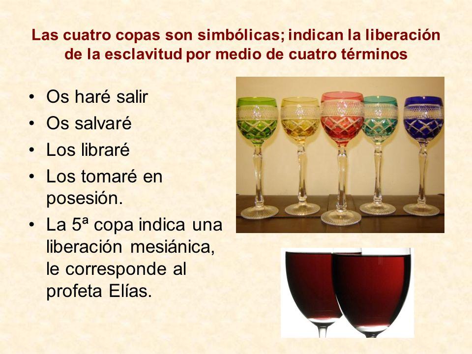 Las cuatro copas son simbólicas; indican la liberación de la esclavitud por medio de cuatro términos Os haré salir Os salvaré Los libraré Los tomaré e