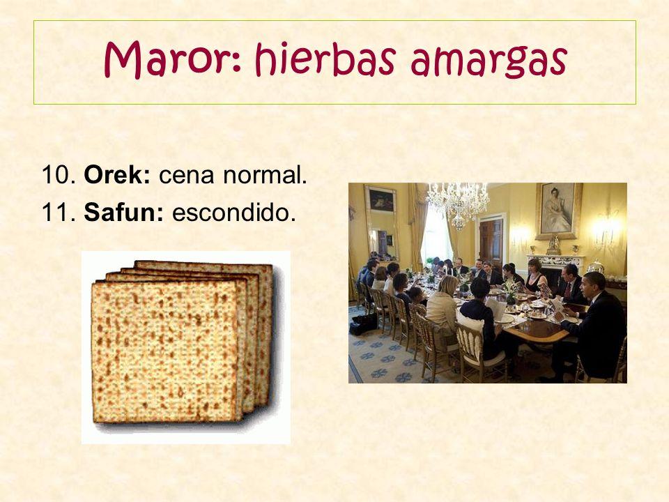 Maror: hierbas amargas 10. Orek: cena normal. 11. Safun: escondido.