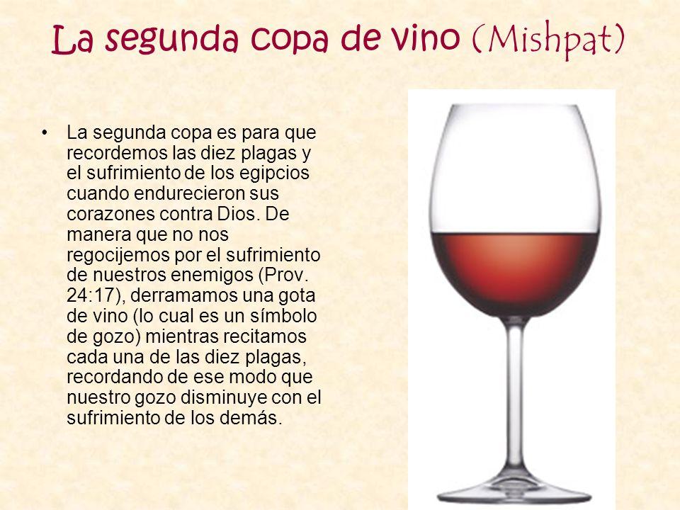 La segunda copa de vino (Mishpat) La segunda copa es para que recordemos las diez plagas y el sufrimiento de los egipcios cuando endurecieron sus cora