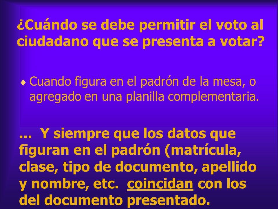 ¿Cuándo se debe permitir el voto al ciudadano que se presenta a votar? Cuando figura en el padrón de la mesa, o agregado en una planilla complementari