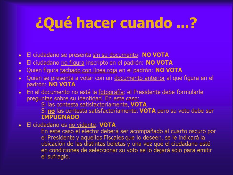 ¿Qué hacer cuando...? El ciudadano se presenta sin su documento: NO VOTA El ciudadano no figura inscripto en el padrón: NO VOTA Quien figura tachado c
