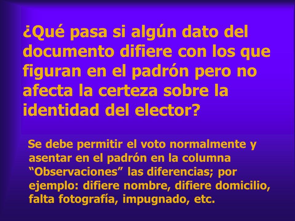 ¿Qué pasa si algún dato del documento difiere con los que figuran en el padrón pero no afecta la certeza sobre la identidad del elector? Se debe permi