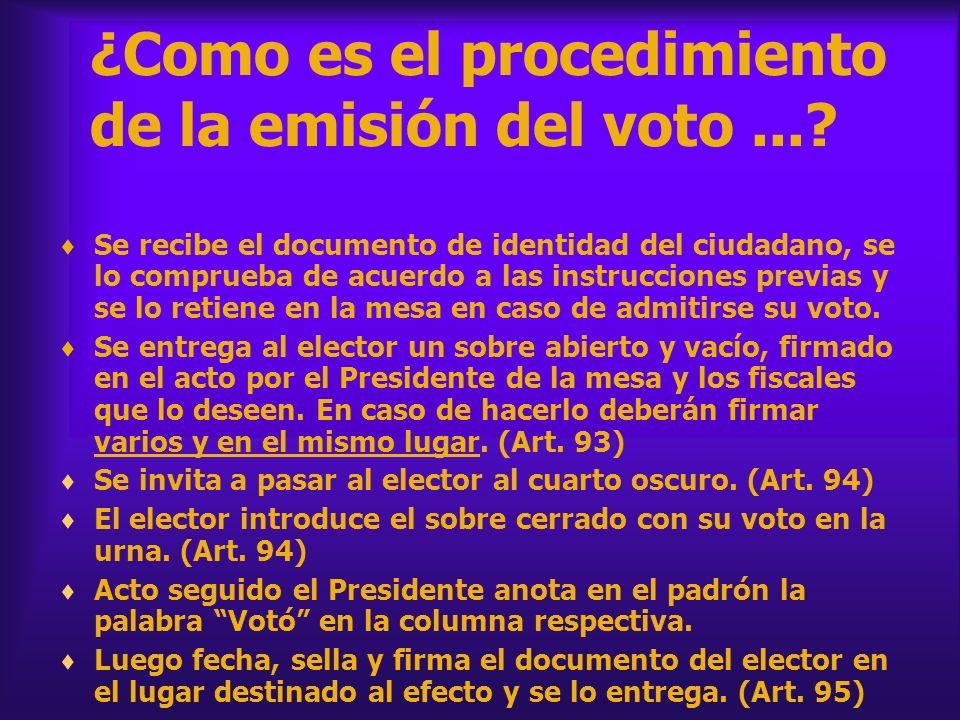 ¿Como es el procedimiento de la emisión del voto...? Se recibe el documento de identidad del ciudadano, se lo comprueba de acuerdo a las instrucciones