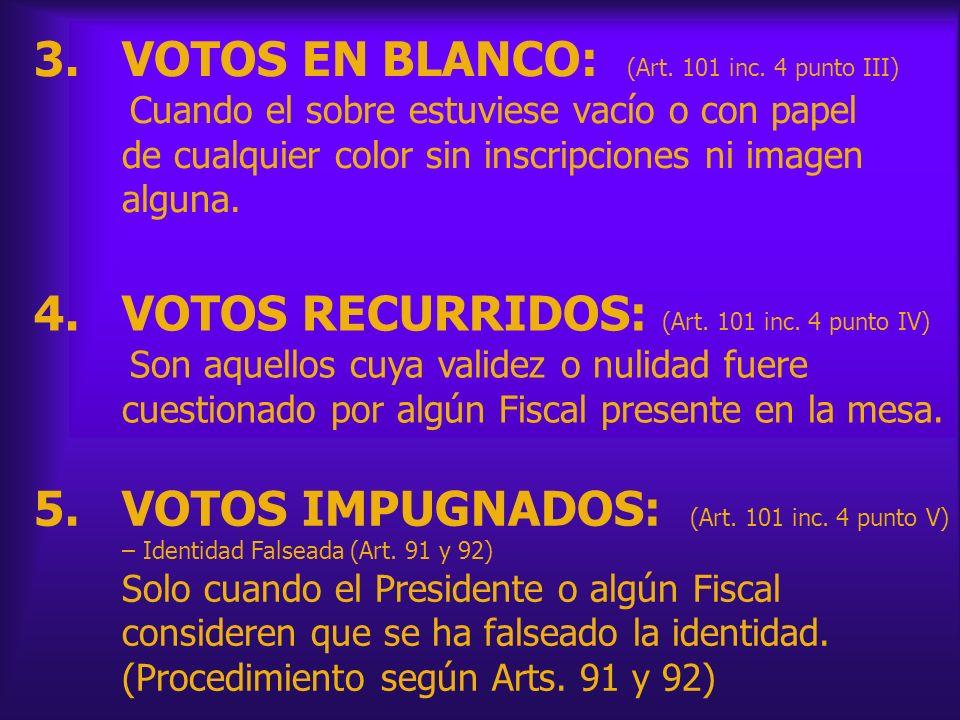3.VOTOS EN BLANCO: (Art. 101 inc. 4 punto III) Cuando el sobre estuviese vacío o con papel de cualquier color sin inscripciones ni imagen alguna. 4.VO