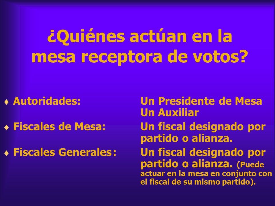 ¿Quiénes actúan en la mesa receptora de votos? Autoridades:Un Presidente de Mesa Un Auxiliar Fiscales de Mesa:Un fiscal designado por partido o alianz