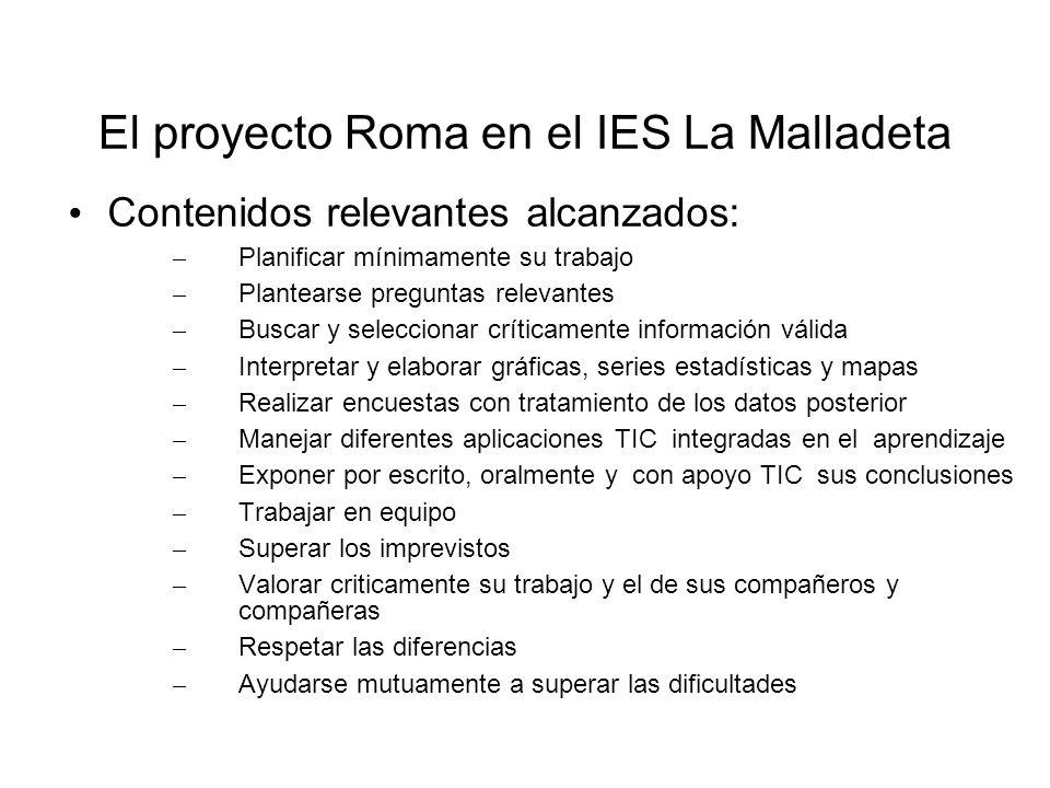 El proyecto Roma en el IES La Malladeta Contenidos relevantes alcanzados: – Planificar mínimamente su trabajo – Plantearse preguntas relevantes – Busc