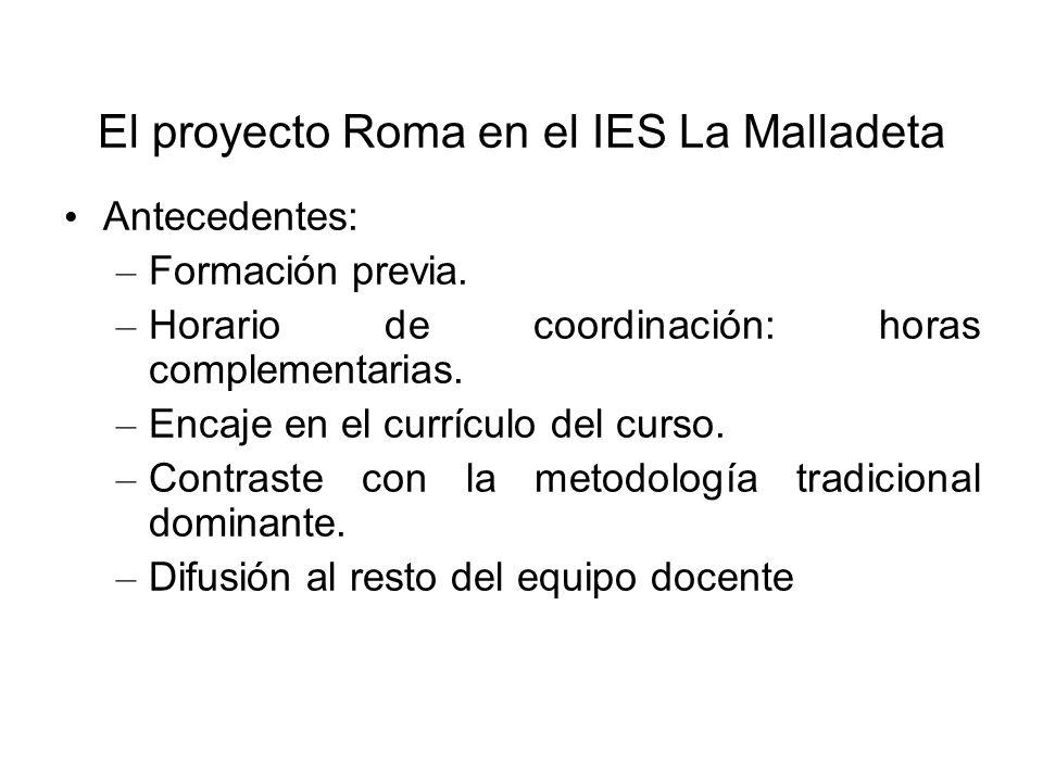 El proyecto Roma en el IES La Malladeta Antecedentes: – Formación previa. – Horario de coordinación: horas complementarias. – Encaje en el currículo d