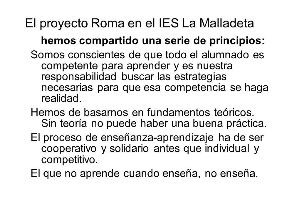 El proyecto Roma en el IES La Malladeta hemos compartido una serie de principios: Somos conscientes de que todo el alumnado es competente para aprende