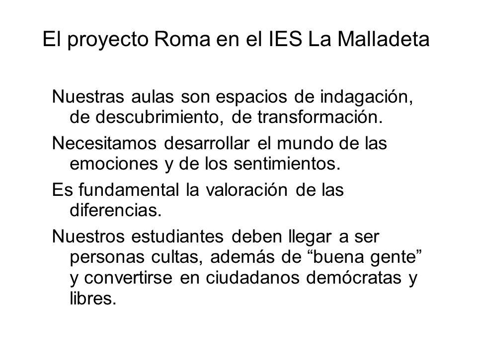 El proyecto Roma en el IES La Malladeta Nuestras aulas son espacios de indagación, de descubrimiento, de transformación. Necesitamos desarrollar el mu