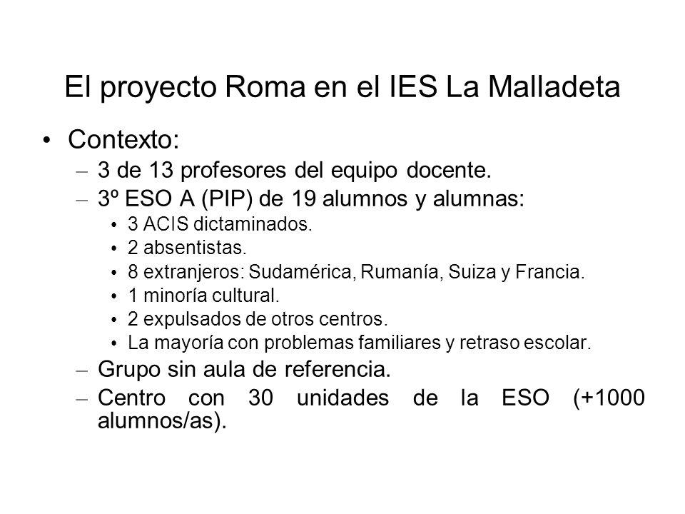 El proyecto Roma en el IES La Malladeta Contexto: – 3 de 13 profesores del equipo docente. – 3º ESO A (PIP) de 19 alumnos y alumnas: 3 ACIS dictaminad