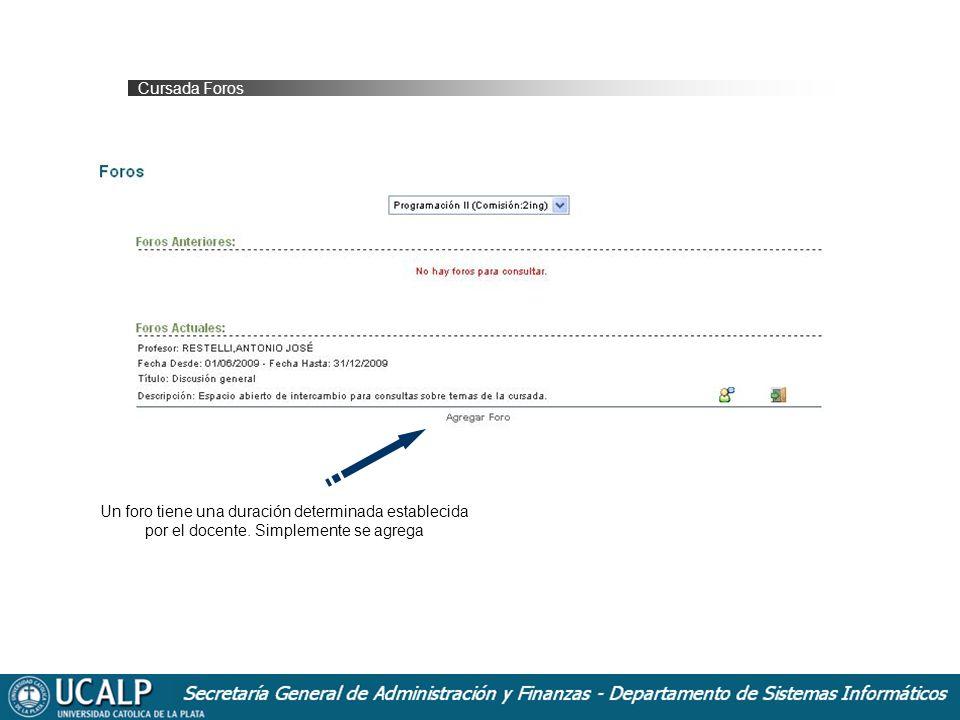Cursada Foros Un foro tiene una duración determinada establecida por el docente.