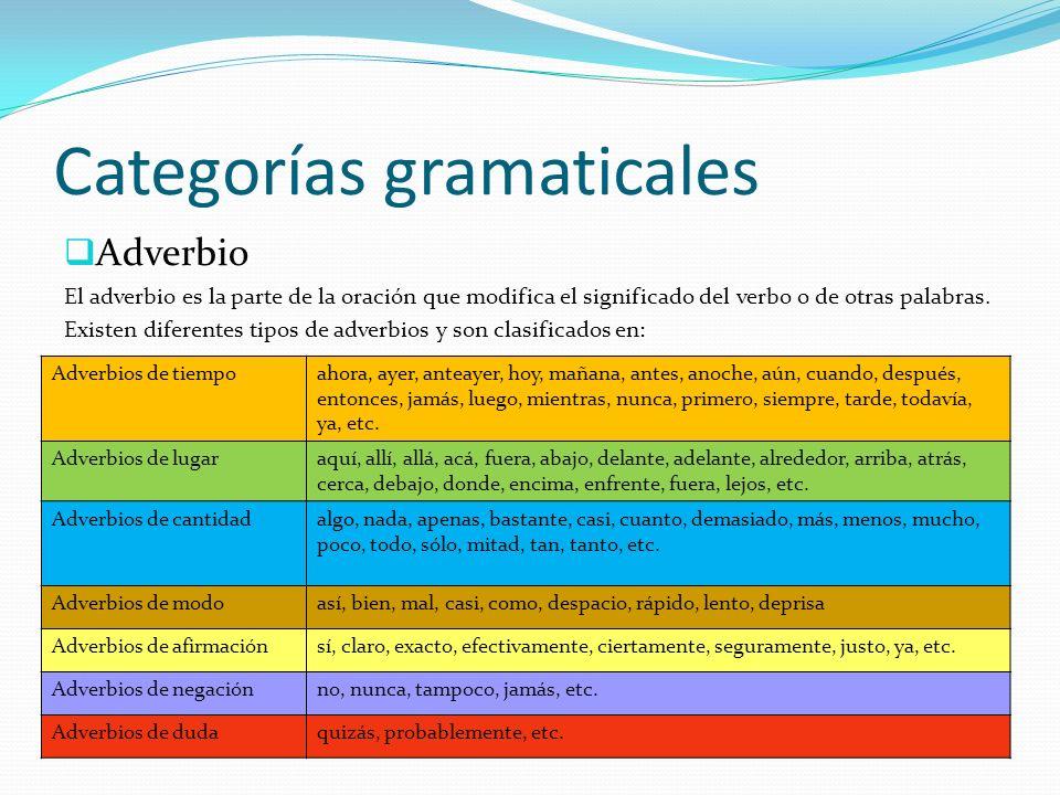 Categorías gramaticales Adverbio El adverbio es la parte de la oración que modifica el significado del verbo o de otras palabras. Existen diferentes t