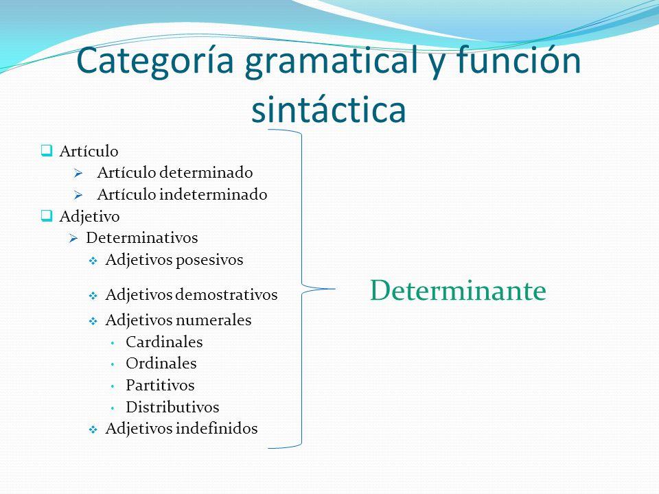 Categoría gramatical y función sintáctica Artículo Artículo determinado Artículo indeterminado Adjetivo Determinativos Adjetivos posesivos Adjetivos d