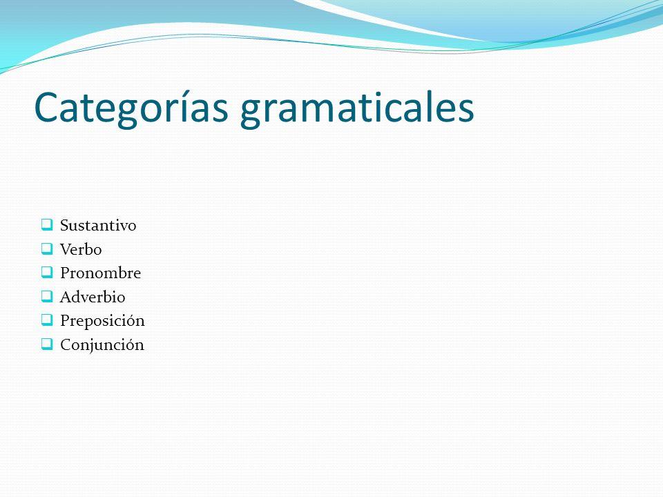 Categorías gramaticales Preposición La preposición es la clase de palabra invariable.