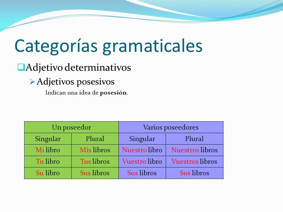 Categorías gramaticales Adjetivo determinativos Adjetivos numerales Indican una idea de número Cardinales Indican cantidad concreta : cinco, tres, mil doscientos cincuenta y uno, ambos (uno y otro)...