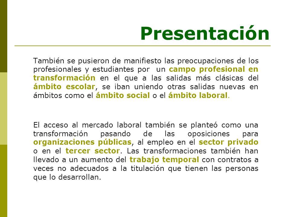Presentación También se pusieron de manifiesto las preocupaciones de los profesionales y estudiantes por un campo profesional en transformación en el
