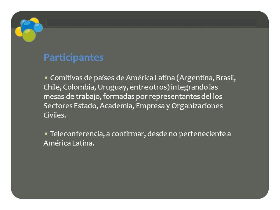 Participantes Comitivas de países de América Latina (Argentina, Brasil, Chile, Colombia, Uruguay, entre otros) integrando las mesas de trabajo, formad