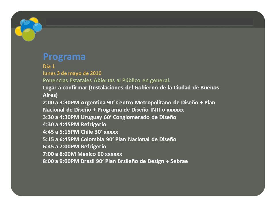 Programa Día 1 lunes 3 de mayo de 2010 Ponencias Estatales Abiertas al Público en general. Lugar a confirmar (Instalaciones del Gobierno de la Ciudad