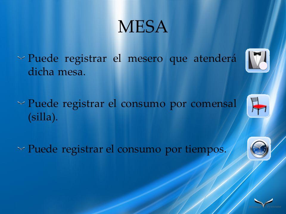 MESA Puede registrar el mesero que atenderá dicha mesa. Puede registrar el consumo por comensal (silla). Puede registrar el consumo por tiempos.