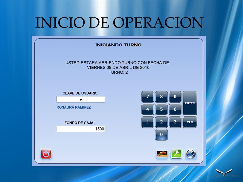 INICIO DE OPERACION