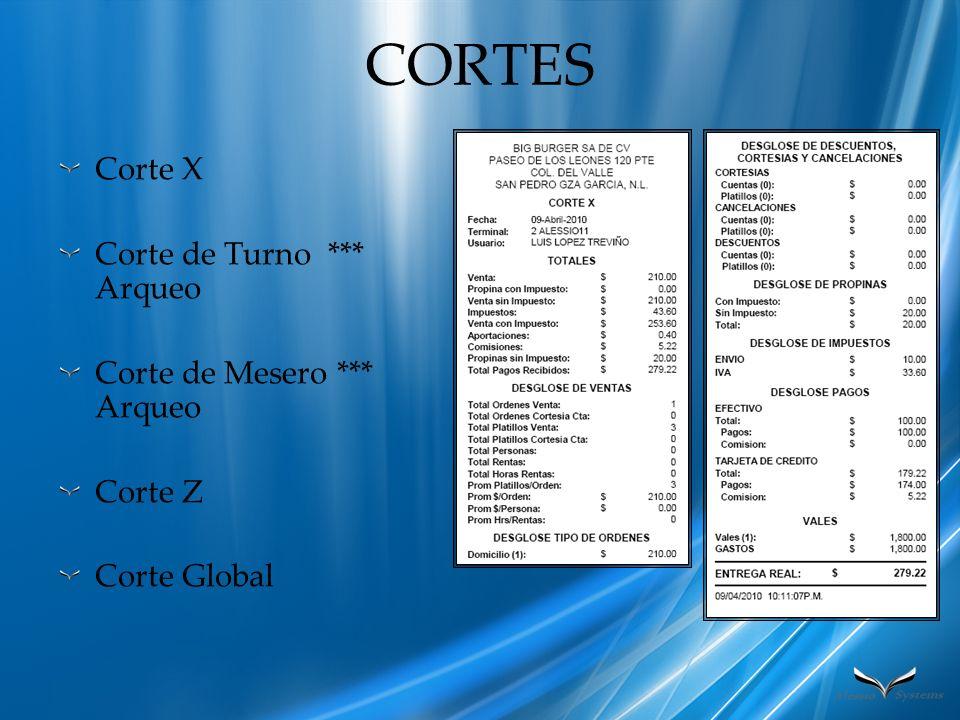 CORTES Corte X Corte de Turno *** Arqueo Corte de Mesero *** Arqueo Corte Z Corte Global