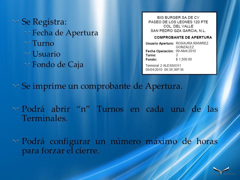 CIERRE DE CUENTA Registro de hasta n formas de Pago diferentes para cada cuenta.
